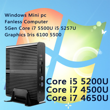Intel nuc безвентиляторный компьютер бродуэлла графики iris 6100 5500 wi-fi 5gen core i7 i5 5500u 5257u windows mini pc barebone htpc i7