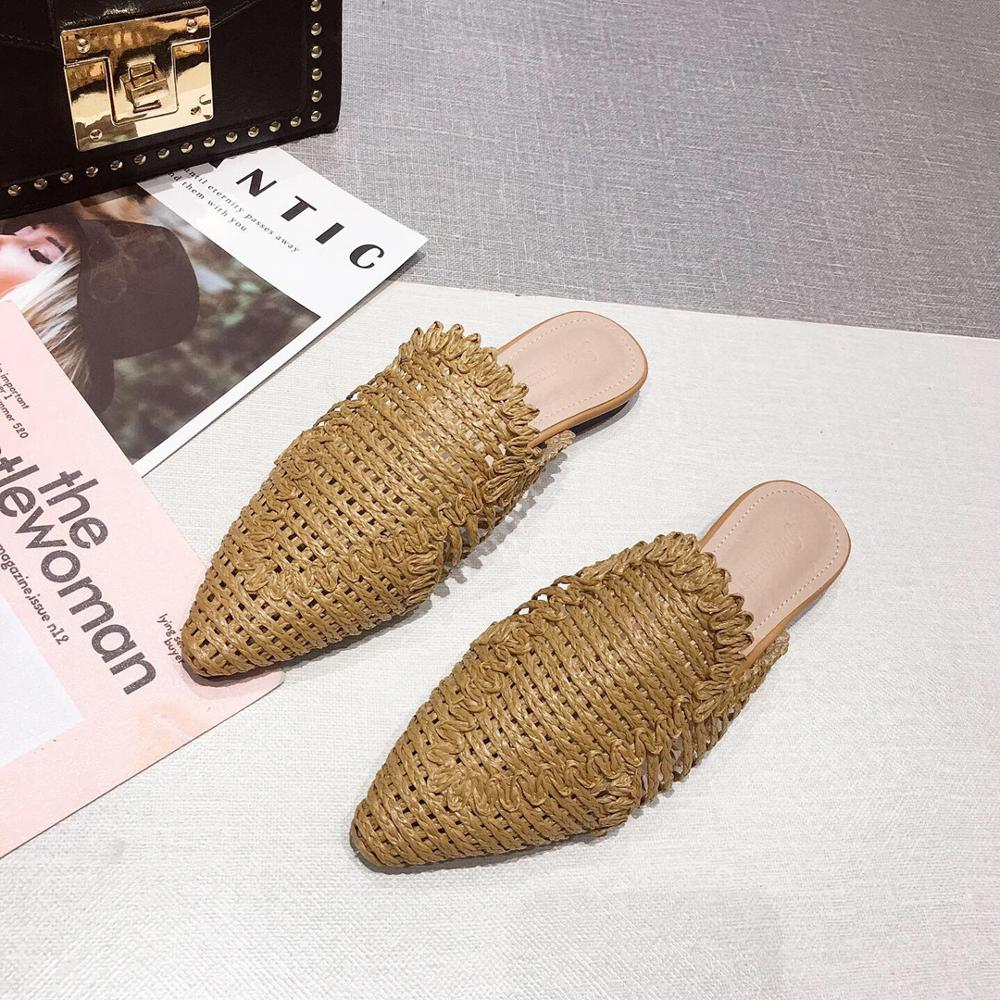 NIUFUNI Women's Rattan Slippers Solid Color Casual Hollow Shoes Slipper Women Pointed Toe Slippers Flat Shoes Cane Beach Shoes 5