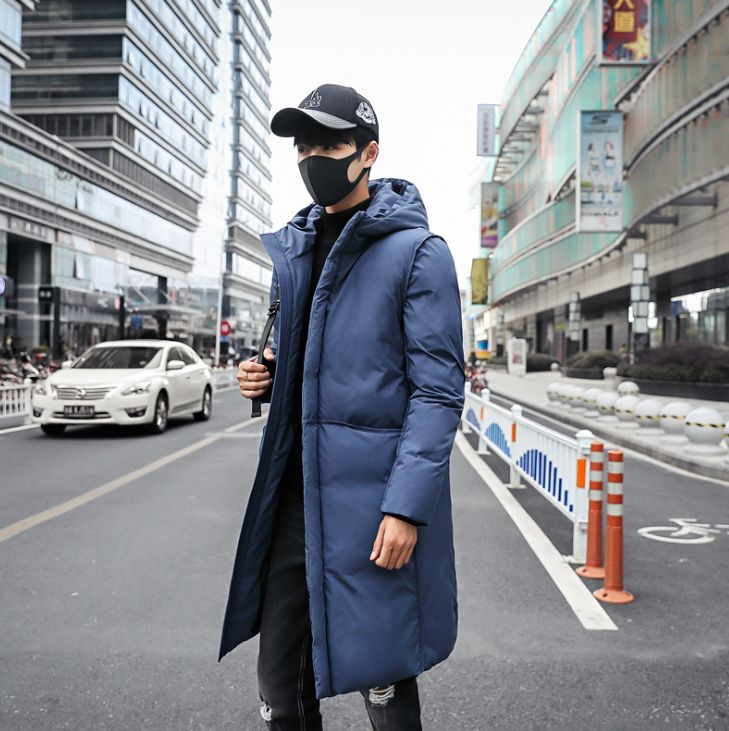 HCBLESS Winter Men's Down Cotton Men's Long Section Thick Warm Warm Slim Youth Men's Cotton Jacket