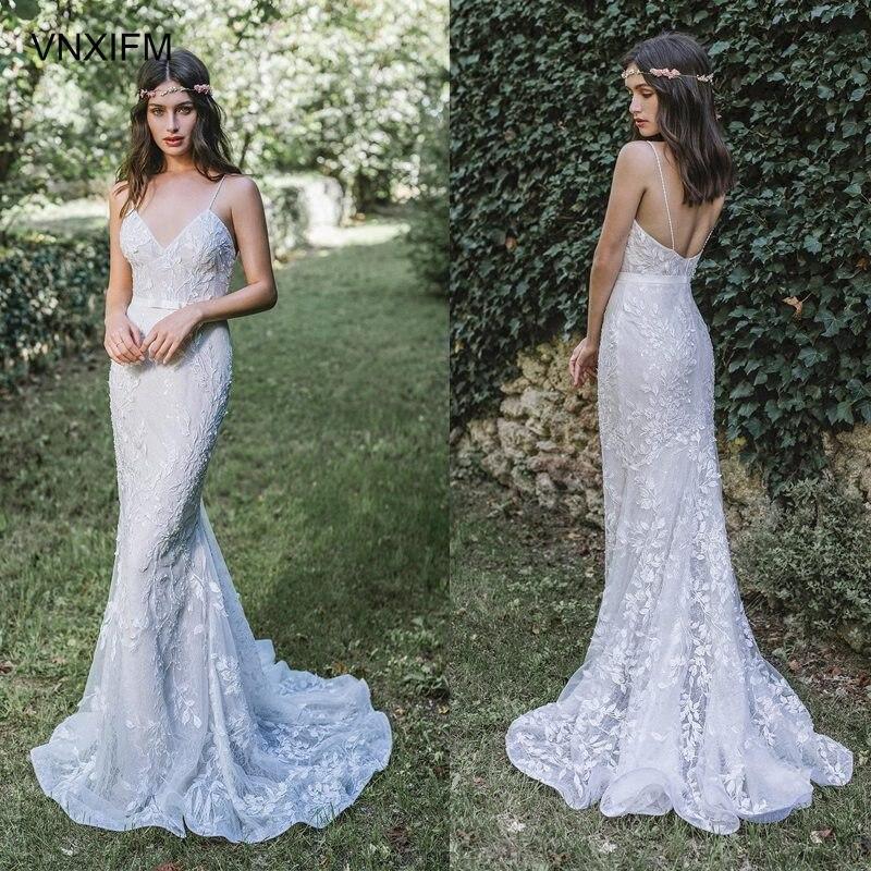 Sheath Wedding Dresses 2019: VNXIFM 2019 Brida Strap Diamond Neckline Full