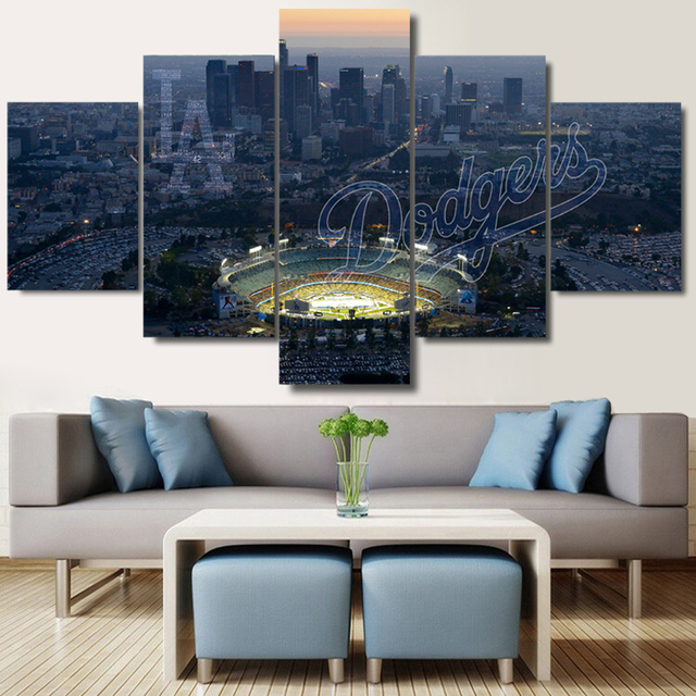 5 Panel La Dodgers Landscape Canvas Painting On The Wall Pictures For Living Room Large Hd