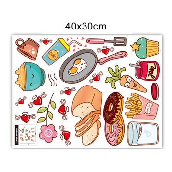 Self Adhesive Fridge DIY Scrapbook Decorative Restaurant Art Home Kitchen Removable Wall Sticker Non-toxic Cute Cartoon