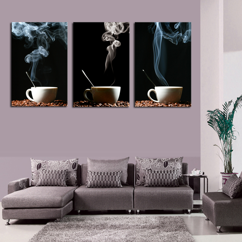 Unframed 3 Panel Coffee Wall Art Picture Modern Painting Canvas