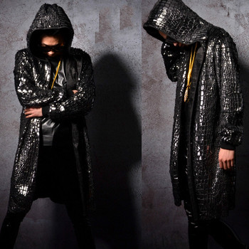 Men Fashion Hip Hop Sequin Long Cloak Hooded Trench Coat Singer Stage Costumes Male Cardigan Jacket Windbreaker Overcoat