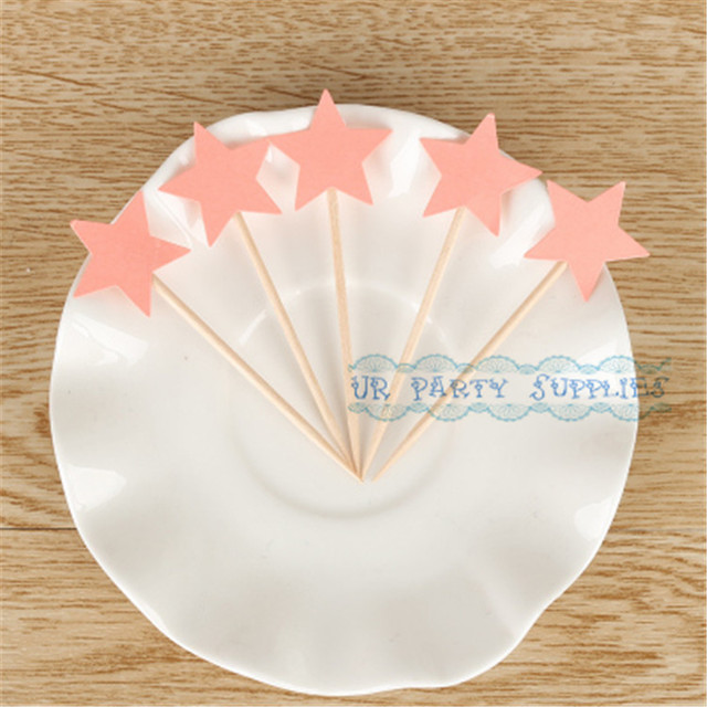 50pcs Blush Pink Star Cake Topper Shades Of Coral Toppers Wedding Picks