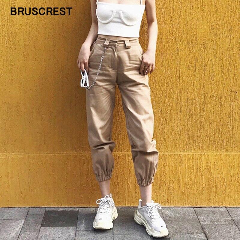 Cadeia de primavera do vintage calça cargo preta mulheres de cintura alta calças largas calças corredores mulheres streetwear plus size