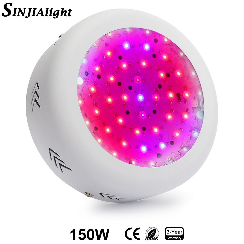 150W UFO LED Grow Light Full Spectrum 50LEDs Red+Blue+White+IR+UV Growing Lamp for Flowers Vegs Grow Tent Indoor Plant Light 150w mini ufo led plant grow light emitting diode full spectrum grow tent led lamp for indoor dual veg hydroponics green house