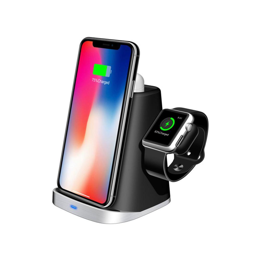 <font><b>Qi</b></font> Wireless Charger Multi-Function Wireless Charger Dock three in one For Apple <font><b>watch</b></font> for Apple headset box for iPhone Xs Max Xr image
