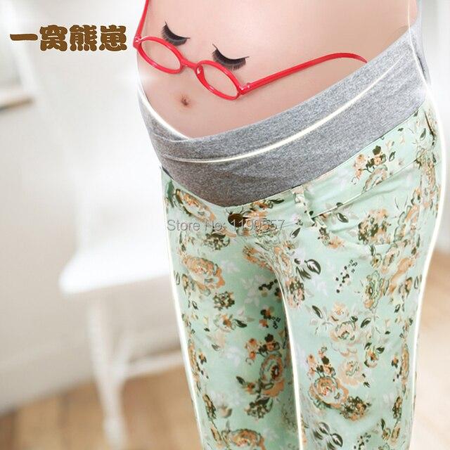 NEW 2015 100% cotton flower print  Leggings maternity pants Nursing trousers for Pregnant Women