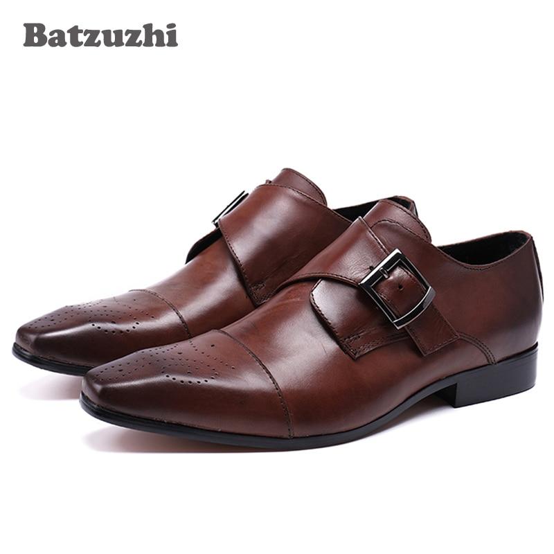 Batzuzhi 2018 основная мужская кожаная обувь Малый квадратный носок Пряжка Оксфорд обувь для мужчин роскошный винно-красный/черный вечернее платье обувь человек