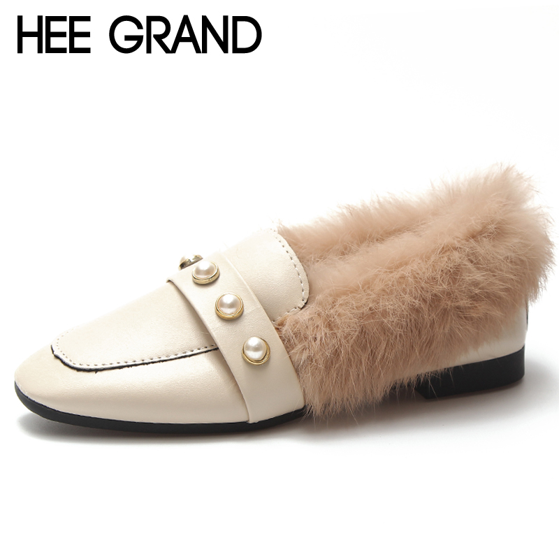 HEE GRAND Pearl Winter Ankle Boots Women Warm Shallow Fashion Platform Ankle Boots Shoes Woman Flat with Faux Fur Shoes XWD6977 hee grand inner increased winter ankle boots warm fringe fashion platform women snow boots shoes woman creepers 3 colors xwx6180