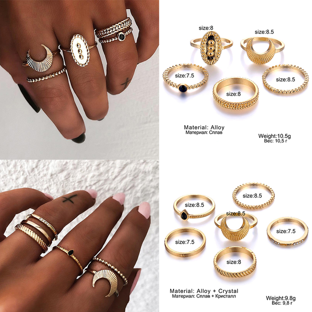 IPARAM Bohemian Vintage Gold Crescent Geometric Joint Ring Set 2