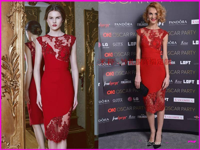 2016 New hot sexy Party gown beading Vestidos De Festa Lace appliques sheath prom   dresses   Evening Elegant red   Cocktail     Dresses