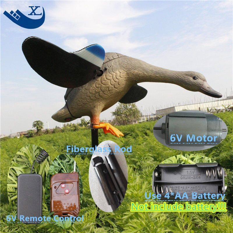 ФОТО 2017 Free Shipping Dc 6V Plastic Decoys Hunting Duck Decoy Hunting Decoy With Magnet Spinning Wings