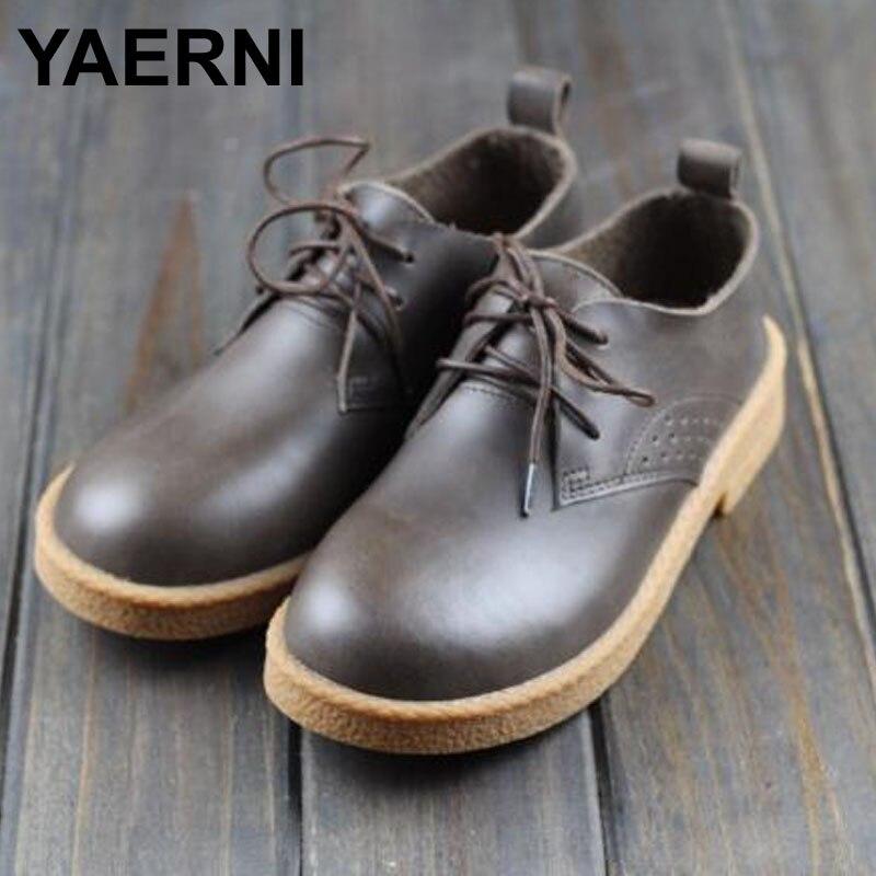 купить YAERNI  Women's Shoes Flat Round toe Lace up Ladies Flat Shoes 100% Authentic Leather Oxford Shoes Female Footwear онлайн