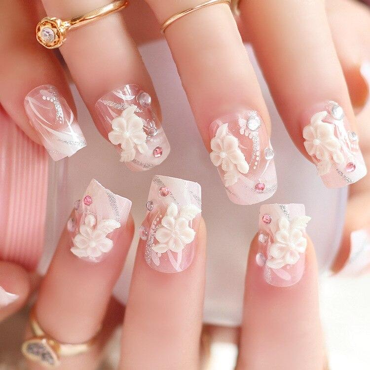 24pcs/set Fake Nails Tips Full Wrap Press On Nails Acrylic Materials False Nail for Wedding Party Flower Nail Art Tools-in False Nails from Beauty & ...