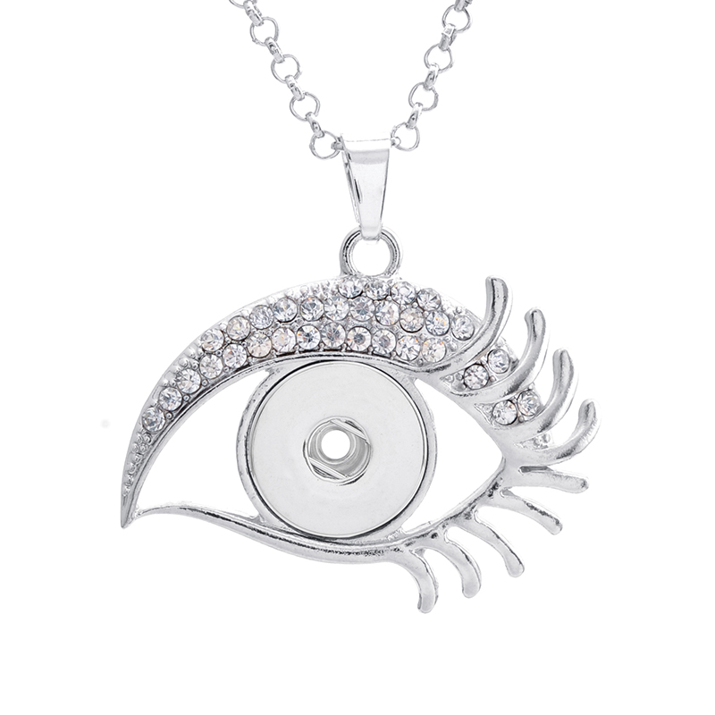 Hot sale XL0010 Rhinestone Eye Metal snap Pendant necklace fit 18mm snap buttons fashion DIY Fittings for snap jewelry
