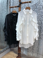 2018 summer new women's lapel collar color ruffled shirt shirt 728