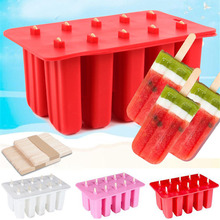 Newly 10 Cell Frozen Ice Cream Mold Popsicle Maker Lolly Mould Tray with Sticks XSD88