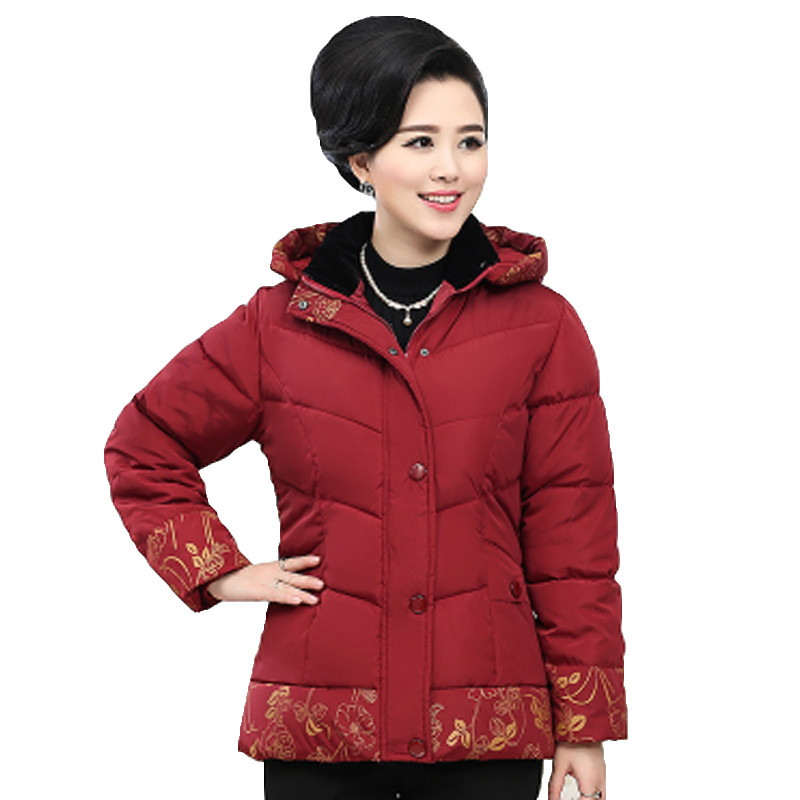 2016 middle age elderly women cotton coat winter mother clothing print thick wadded jacket removable hood
