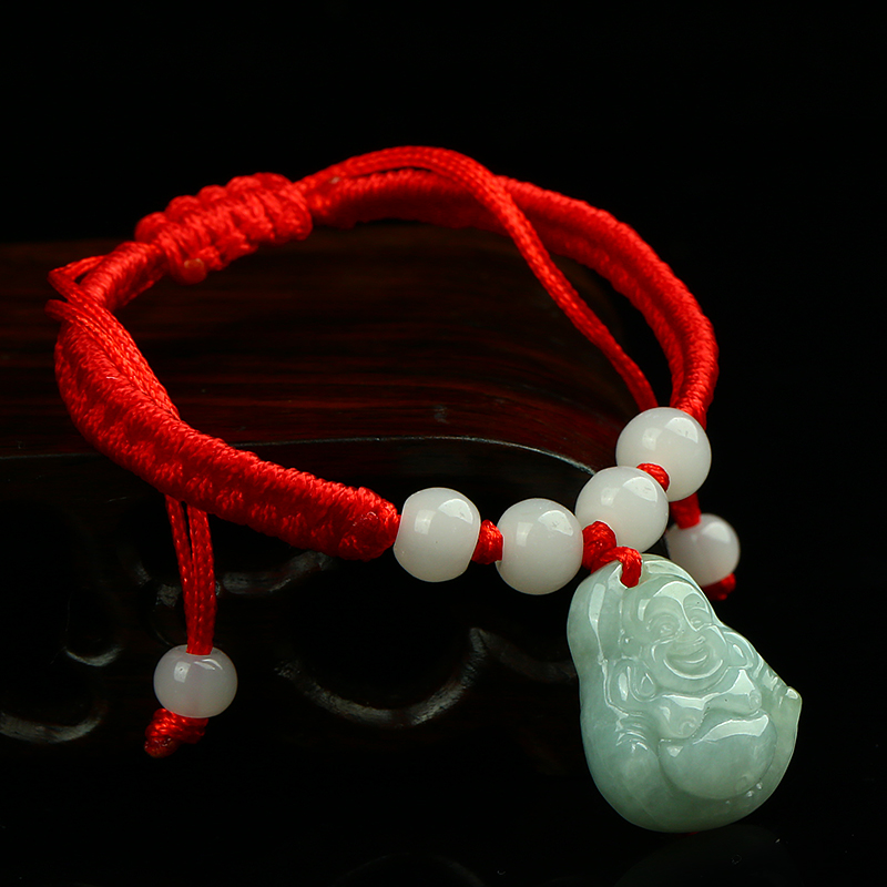 Ethnic Handmade Weave Red String 100% Natural Smiling Buddha Bracelet 1PCS