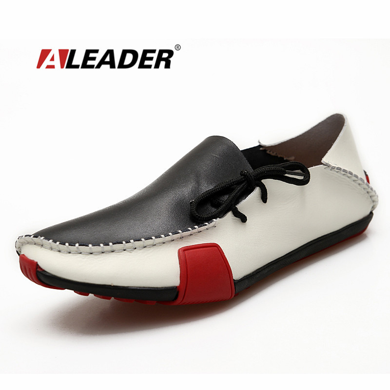 Aleader Genuine Leather Mens Shoes Casual Fashion Big Size Loafers Shoes for Men Hand Made Driving Shoes Men Comfort Flats 39-47 big size men work casual shoes fashion mens loafers luxury genuine leather lace up flat father driving shoes lmx b0024