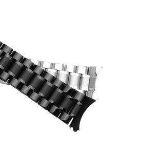 Image 4 - 23 مللي متر الفولاذ المقاوم للصدأ الأسود المعادن سوار استبدال الصلب حزام الرجال معصمه ل lumox