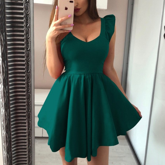GUMPRUN 2019 Women Summer Red Black Elegant Mini Dress Sexy V Neck Short Sleeve Ruffle Short Dresses Ladies Casual Party Dress