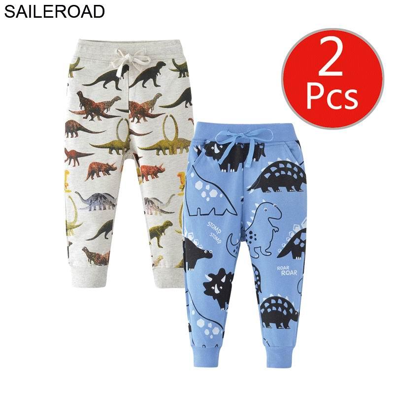 SAILEROAD 2pcs Dinosaur Pants Kids Boys Pants for Boys Animal Print Children's Pants for Baby Clothes 7Years Kids Sweatpants 5