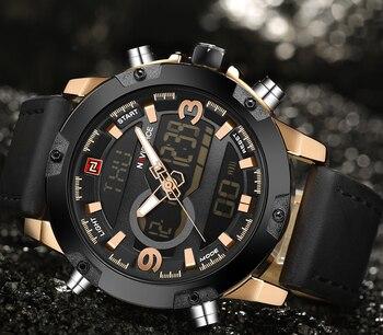 NAVIFORCE Men's Luxury Dual Time Display Waterproof Calendar Chronograph Leather Quartz Watches 2
