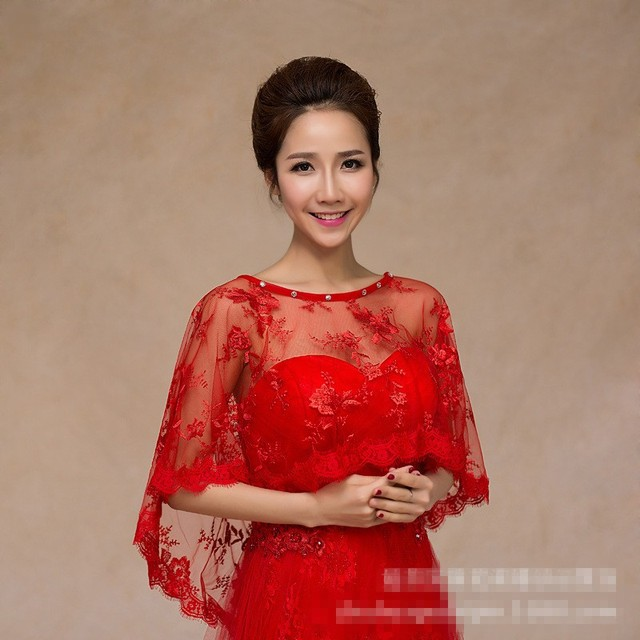 b4853dbc7dffb Wedding Party Evening Dress Red Lace Ponchos Wedding Wraps Bridal Wrap  Wedding Accessories Wedding Shawl Jacket