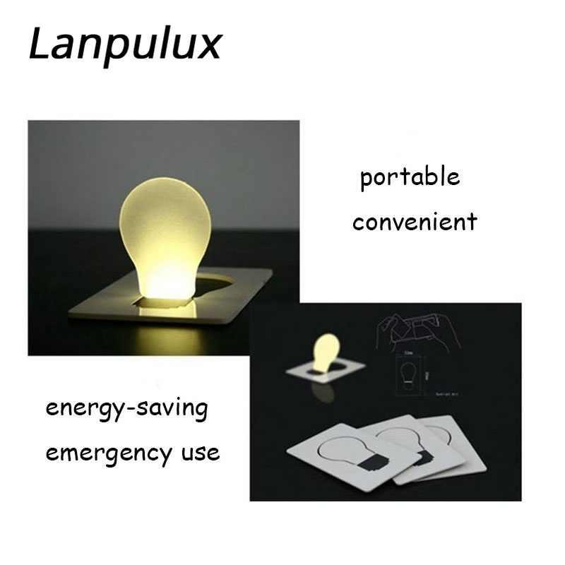 Lanpulux 10 sztuk/partia karty kredytowej lampa nocna Mini rozmiar portfela kreatywny projekt do użytku w nagłych wypadkach baterii ciepły biały zasilany energią słoneczną oświetlenie