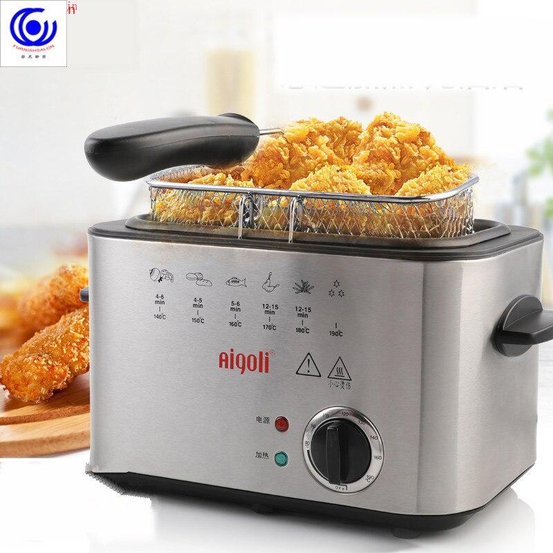 Acier inoxydable électrique friteuse sans fumée multifonctionnel ménage 1 réservoir frites poulet Grill poêle huile pot ensemble
