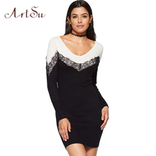 ArtSu Casual Lace Patch Knitted Mini Dress Women Autumn Black White Sexy Slim Long Sleeve Dresses