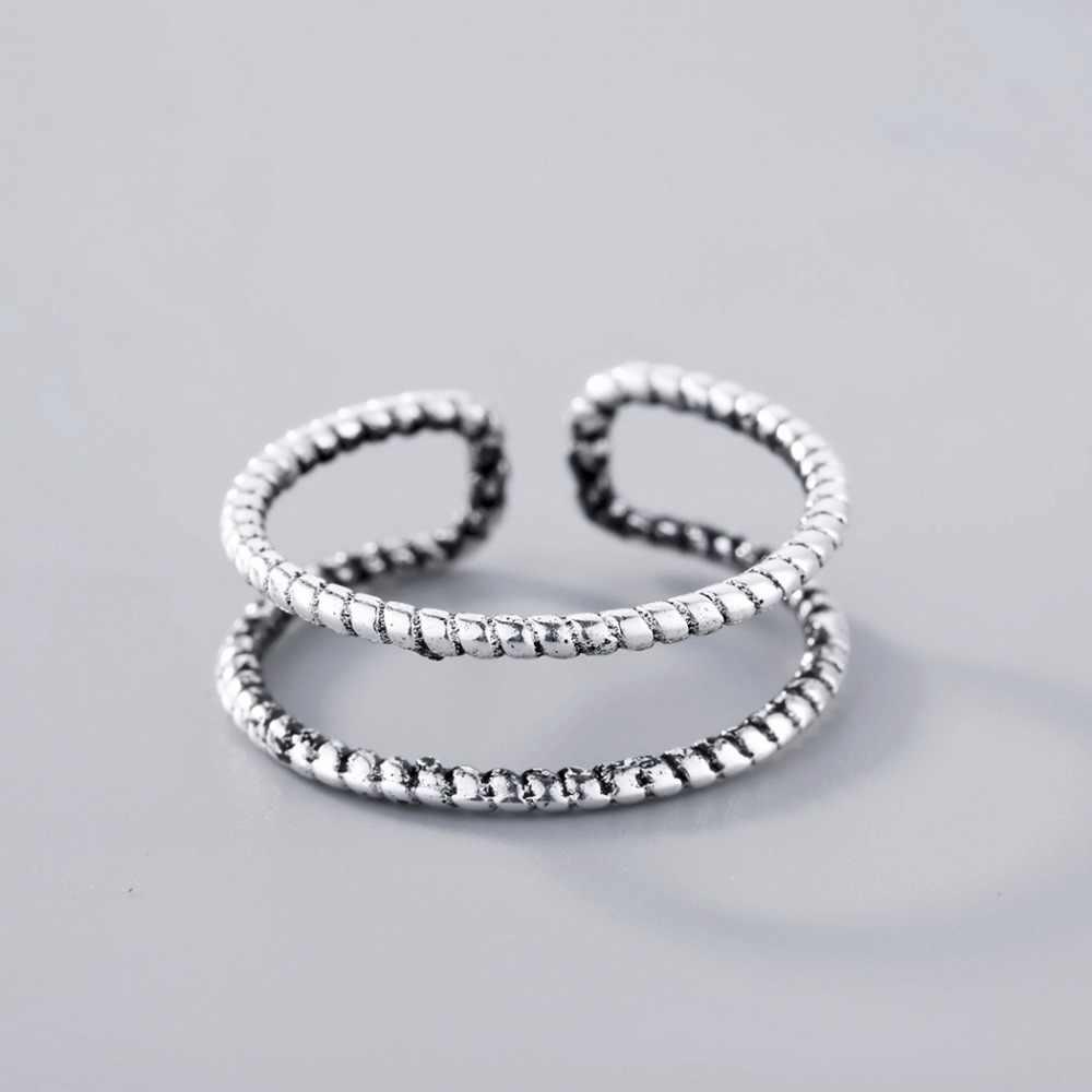 Chandler โบราณ Twist ลวดแหวน Boho Simple เรขาคณิตที่เรียบง่ายเปิด Knuckle นิ้วเท้าแหวนเงิน 925 เครื่องประดับ