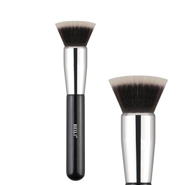 BEILI Fundación plano contorno crema en polvo Blush Forma de cara única de pelo sintético negro pinceles de maquillaje