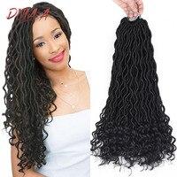 Дула A Faux Locs вьющийся кроше Вязание косичками богиня Locs накладные волосы Омбре плетение волос