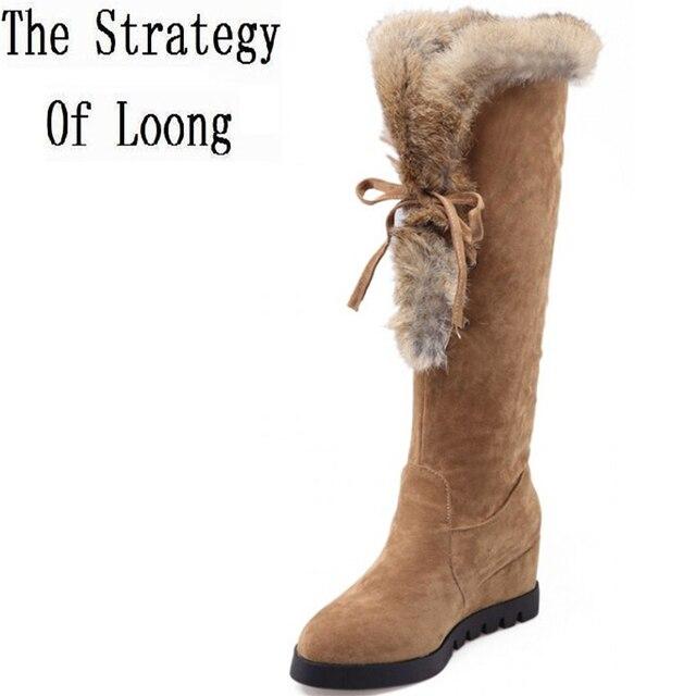 Super chaud Femmes bottes longues avec fourrure Intérieur chaude en cuir bottes hiver chevalier bottes Nubuck uBMEA