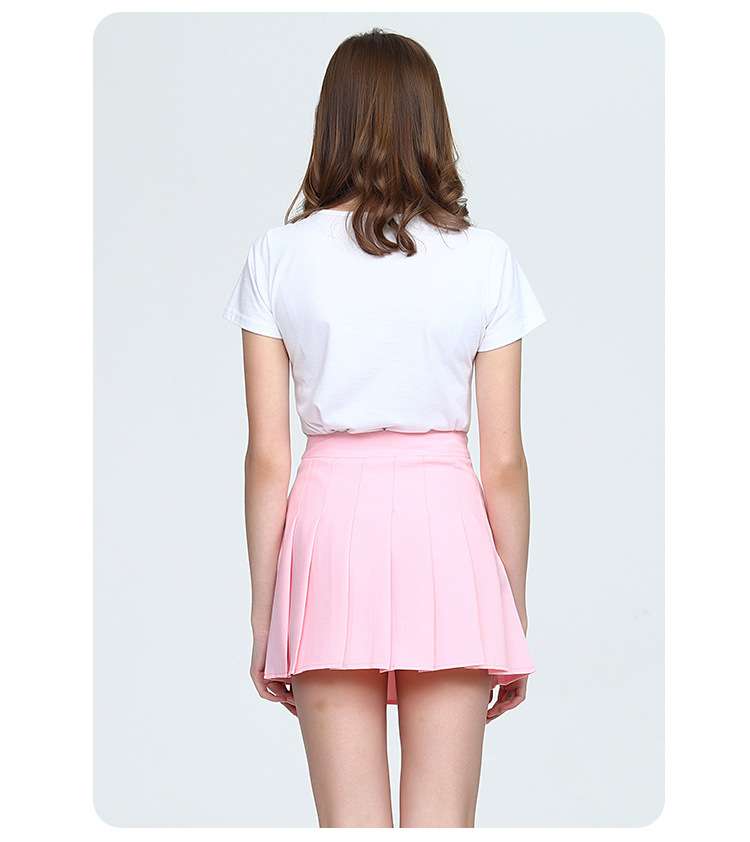 Girls A Lattice Short Dress High Waist Pleated Tennis Skirt Uniform with Inner Shorts Underpants for Badminton Cheerleader-15