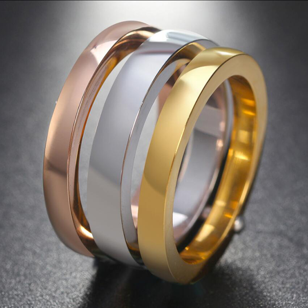 NIBA High Quality 3 Pieces/Set Rose Gold/Silver Color Titanium Steel Rings For Women Jewelry Anniversary Ring Set 5