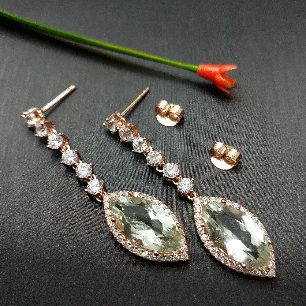 FLZB New design long earrings 100 natural green amethyst MQ 8 16mm 10ct in 925 sterling