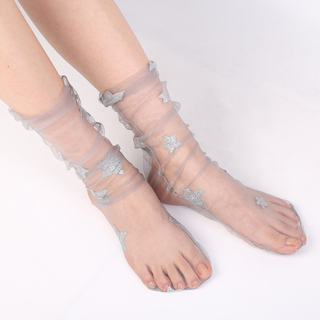 1b48a73a1ab BBYES Women Glitter Star Mesh Socks Chic Transparent Elastic Sheer Ankle  Socks Gold Sliver Shiny Stars