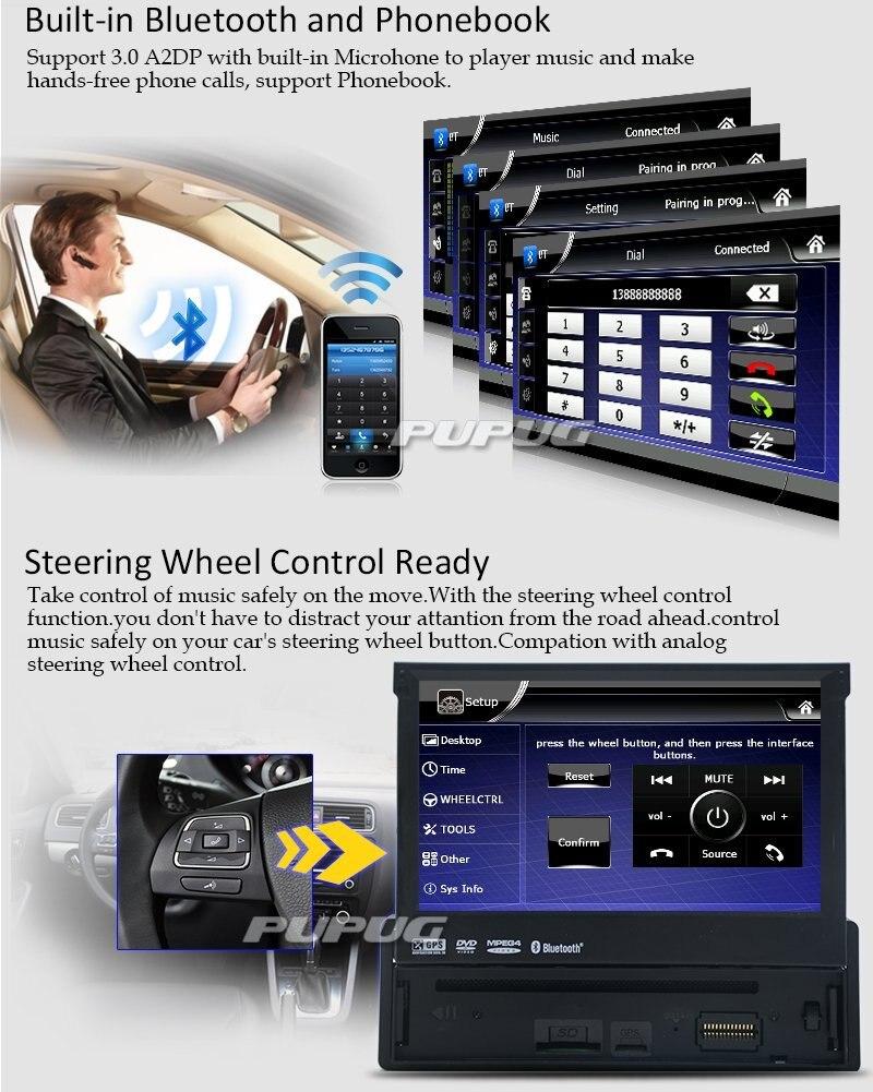 """Electrónico del coche de 1 din Coche Reproductor de DVD de Navegación GPS 7 \""""1 din Car Radio En Dash Envío 8 gb Mapa de Vídeo Estéreo de radio Del Coche de Navegación GPS"""
