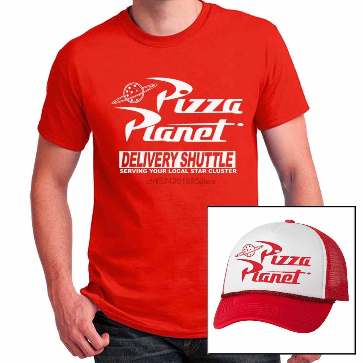 Us 699 Pizza Planet T Shirt With Matching Mesh Hat Combo Halloween Costume Cosplay Set In T Shirts From Mens Clothing On Aliexpress