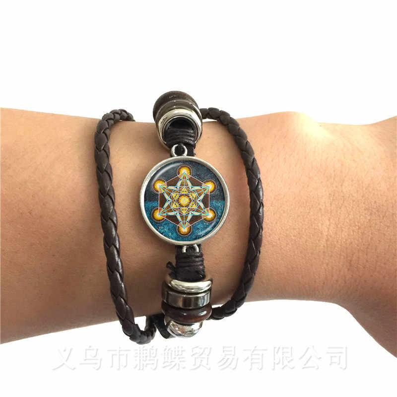 2018 Supernatural Pentagram Glass Bracelet Gothic Satanism Evil Occult Pentacle Jewelry Pagan Charm Black/Brown Leather Bangle