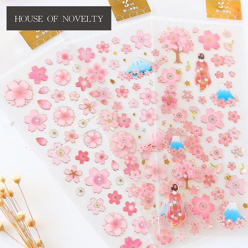 Sakura Flowers Gilding Decorative Stickers Adhesive Stickers DIY Decoration Diary Stationery Stickers Children Gift