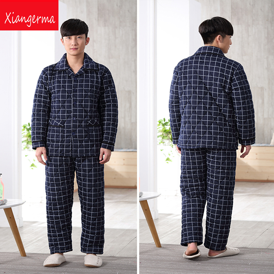 Autumn cotton pajamas knitted cotton set pijamas Spring Sleepwear Cotton Pyjamas Men Pajama casual Sets free