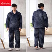 Осенние хлопковые пижамы трикотажные Комплект одежды из хлопковой ткани пижамы весна пижамы из хлопка мужские пижамы повседневные Комплекты Бесплатная доставка