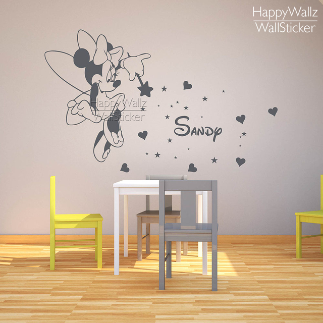 Mini Mouse Name Wall Sticker DIY Baby Nursery Custom Name Wall Decal Kids  Room Children Name