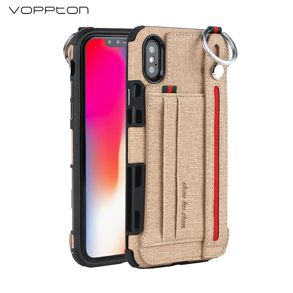 Voppton Luxury Fabric Leather Case For iPhone 7 8 6 6S Shockproof Card slot Kickstand Cover Case For iPhone X 7 8 6 plus fundas